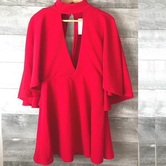 madissone Dresses & Skirts - Madissone red cape dress cutout back